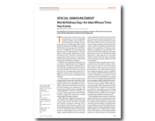 WKD 2006 Scientific Editorial – World Kidney Day: An idea whose time has come