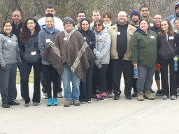 Prof Bob and his students celebrating 2014 WKD in Irving Texas